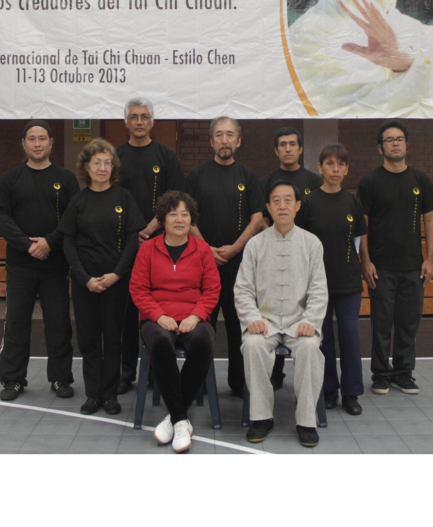 Gran Maestro Chen Zhenglei y su esposa, con discípulo y discípulos nietos Lima - Perú